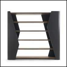 Bookshelves made with solid walnut wood covered with genuine leather 154-Racing