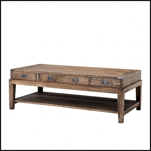 Coffee Table With Gunmetal Hardware And In Solid Oak Smoked Or