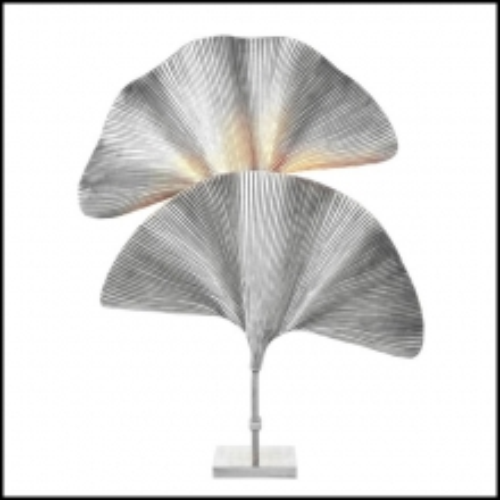 Lampe à poser finition plaquée argent avec 2 feuilles de Ginko Biloba 24-Las Palmas