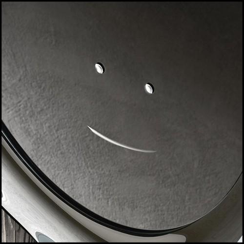 Bar avec face avant en résine de marbre avec plateau et côtés en verre noir 24-Grimaldi