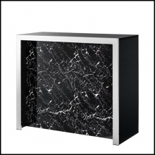 Bar with black resin marble in front and sides in black glass 24-Grimaldi