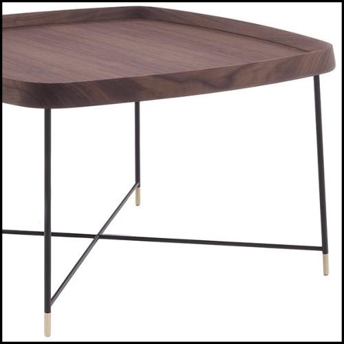 Table d'appoint avec base finition gold et plateau en verre 24-Equilibre