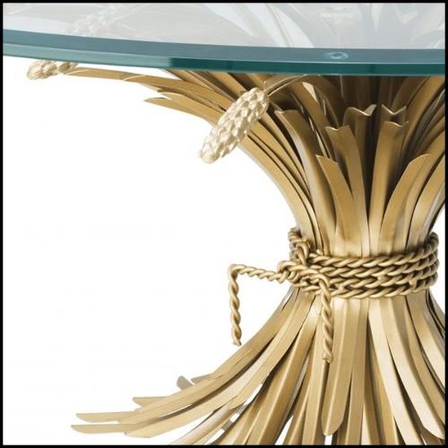 Table de repas ronde avec plateau et base en marbre blanc et détails en laiton poli 155-Tama