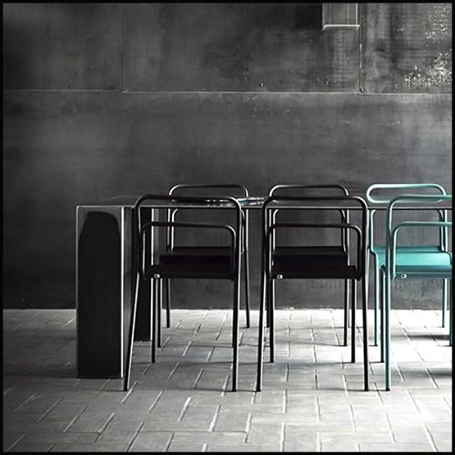 Chaise tapissé avec tissu en velours gris ou purple ou noir 162-Home Caption