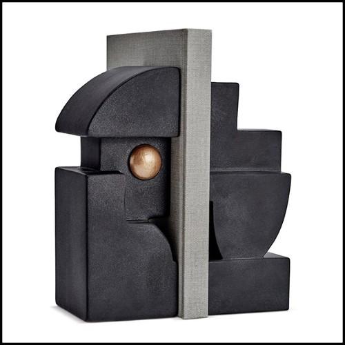 Étagère ou cabinet avec structure en acajou massif laqué finition piano black 24-Otello