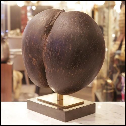 Console finition acier inoxydable poli et plateau en verre clair et marbre noir 24-Morris
