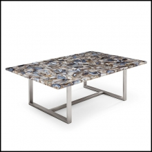 Coffee Table with real agate stone top on polished metal base 162-Agate Stone
