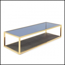 Coffee table in gold finish with tempered glass top and down top in ostrich leather style 162-Borough