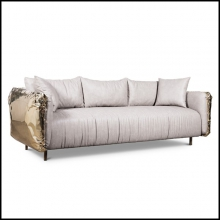 Sofa with grey genuine leather back and sides made in hammered polished brass 24-Gold Safe