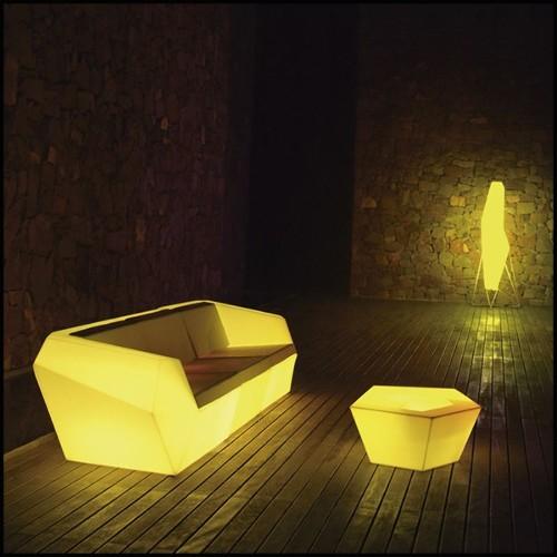 Lampadaire projecteur en aluminium poli acier inoxydable et verre clair 24-ROYAL SEAL