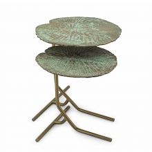 Table d'appoint set de 2 avec structure en métal finition old bronze style 162-Lotus Leaves
