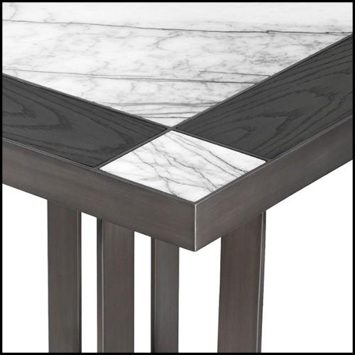 Bar avec structure en bois massif et avec face couverte avec tissu velours vert 24-Bolton