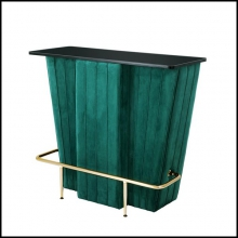 Bar with structure in wood front and upholstered with green velvet fabric 24-Bolton