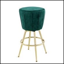 Stool upholstered with green velvet fabric with champagne gold finish feet 24-Bolton