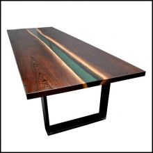 Table in solid wenge wood from equatorial and tropical Africa forests 161-Emerald Forest