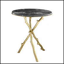 Table d'appoint avec structure finition gold et plateau en marbre noir 24-Wood of Gold