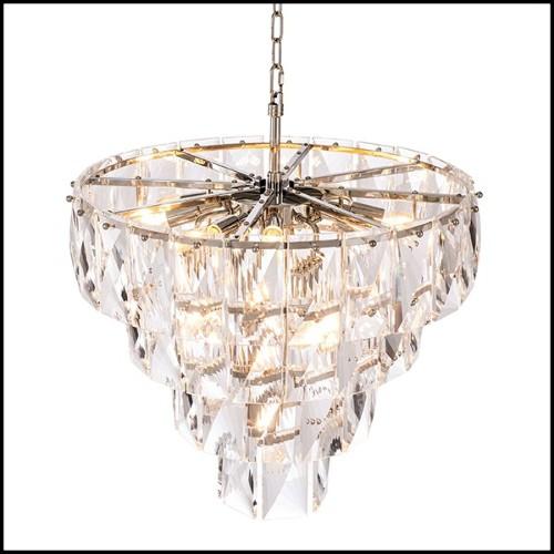 Table basse avec structure en laiton poli et plateau en verre clair 24-Solid Trunk