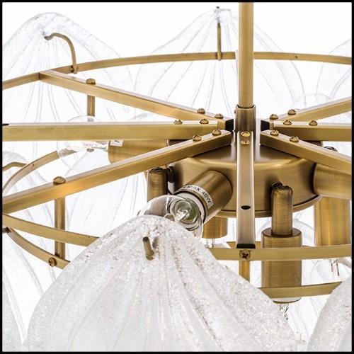 Lampadaire avec structure finition nickel avec verre givré et verre clair 24-Dorrell