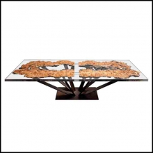 Dining table made with the cut of an elm coated with a strong transparent resin 161-Elm Wood and resin