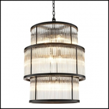 Chandelier avec structure en bronze finition highlight et avec verre vintage 24-Derone Extra Large