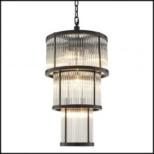 Chandelier avec structure en bronze finition highlight et avec verre vintage 24-Derone Medium