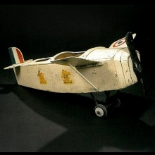 Plane two-seater, metal and painted wood 01-482 fairground art