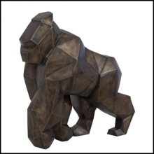 Sculpture in brushed brass handcrafted work cubic style 119-Kong Gorilla