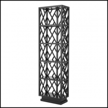 Bookshelves with structure in solid mahogany wood in black lacquered finish 24-Harth