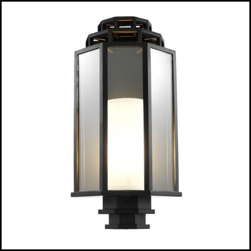 Étagère avec structure en acajou massif finition lacqué noir 24-Harth