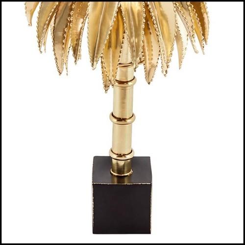 Miroir fabriqué à la main en acajou massif finition gold 119-Wavy