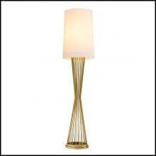 Lampadaire finition gold ou finition nickel avec abat-jour off-white 24-Holmes