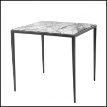 Table d'appoint avec structure en bronze massif et plateau en marbre blanc Lilac ou brown 24-Leggy Square