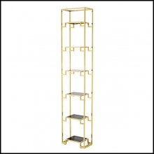 Bookshelves with structure in gold finish and with black glass shelves 24-Stantord Medium