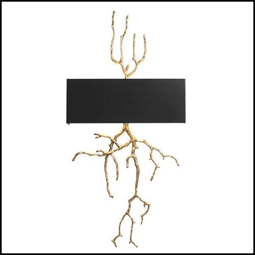 Table basse avec base en aluminium moulé finition oro nero et avec plateau en verre 119-Enlaced
