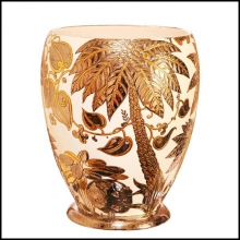 Vase Emaux de Longwy from France limited edition PC-Palmers white and golded