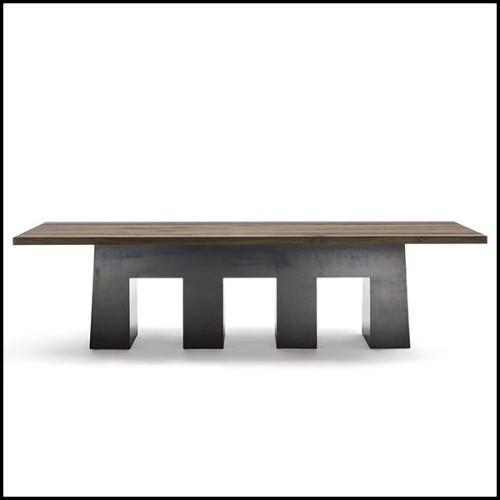 Chevet avec tubes en laiton poli plaqués or et structure en bois exotique 145-Brass Tubes
