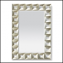 Mirror with structure in hand-carved solid wood in silver or in gold finish 119-Cadrillo