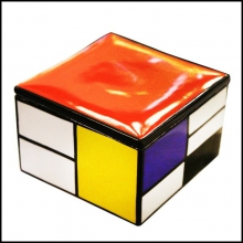 Boîte en porcelaine peinte à la main avec couvercle 38-Mondrian Style
