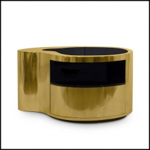 Chevet ou table d'appoint finition cuivre et laiton avec plateau en verre miroir noir 145-Curvy