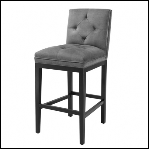 Astounding Bar Stool With Granite Grey Fabric And Black Legs 24 Cesare Cjindustries Chair Design For Home Cjindustriesco