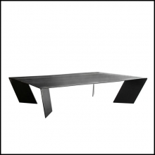 Coffee Table with all structure hand-crafted in dark steel 147-Raw Dark Steel