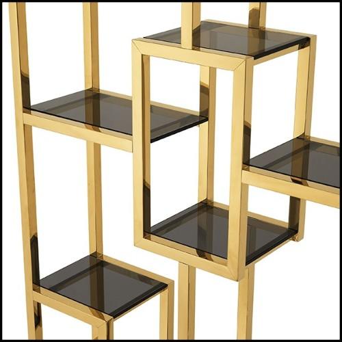 Table basse finition gold ou acier inoxydable poli chrome et avec plateau en verre clair 24-Orient