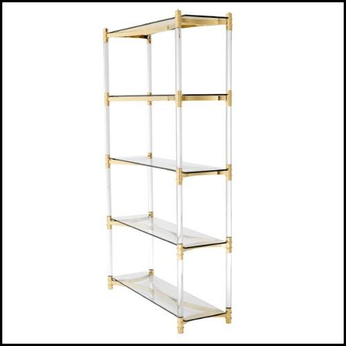 Table d'appoint finition gold ou acier inoxydable poli chrome avec plateau en verre clair 24-Orient