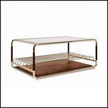 Coffee Table in polished glossy brass and with glass and walnut top 157-Goldfinger