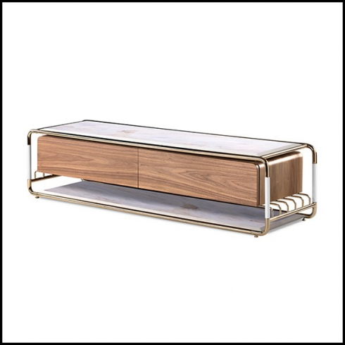 TV table in solid walnut wood and polished brass with white