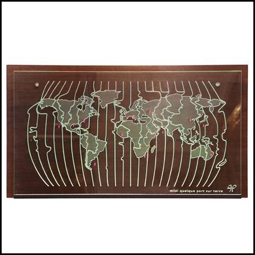Miroir avec structure en acajou massif taillé à la main et avec finition peinture doré 119-Asymmetric
