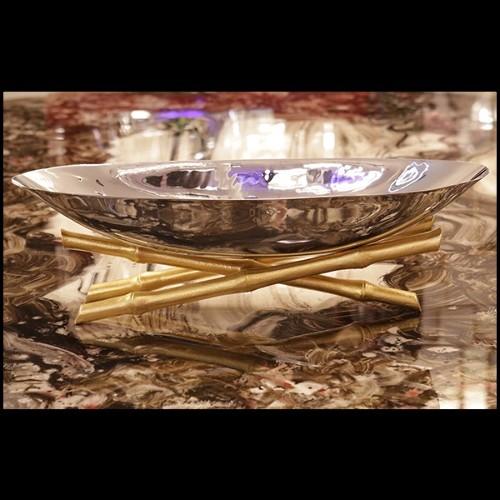 Canapé avec tissu colori Off-White brillant et base en bronze massif finition brossé 24-Jackie