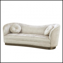 Sofa upholstered with white-off shiny fabric and with brushed bronze base 24-Jackie