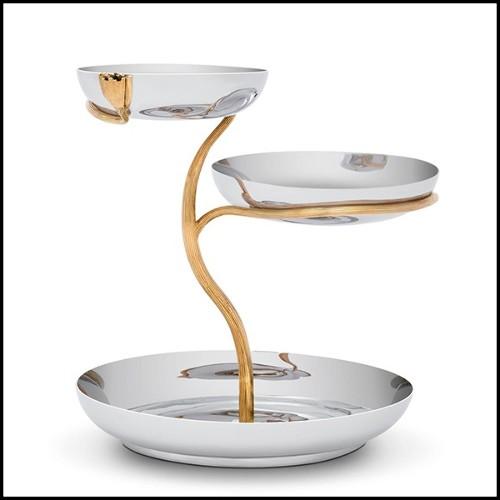 Miroir avec cadre en bois d'acajou massif taillé à la main et peint finition argent 119-Scales
