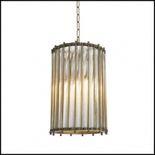 Chandelier in vintage brass or antique silver plated finish 24-Mezzo Single